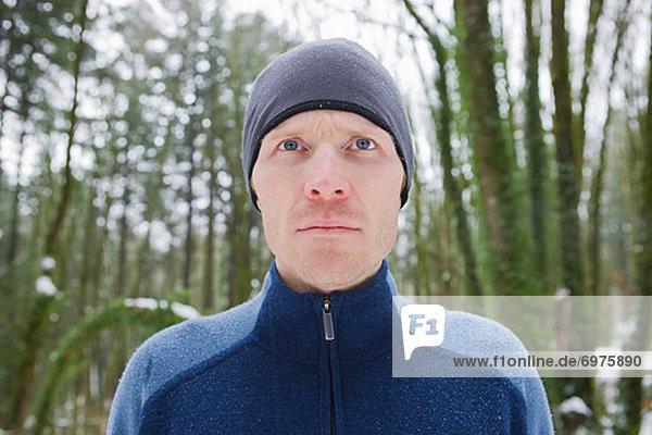 Portrait of Man in Winter  Wildwood Trail  Forest Park  Portland  Oregon  USA