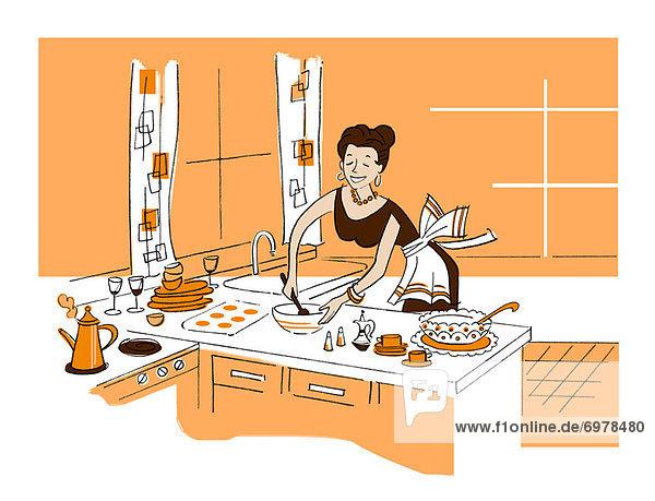 Abendessen Frau Vorbereitung Illustration Abendessen,Frau,Vorbereitung,Illustration