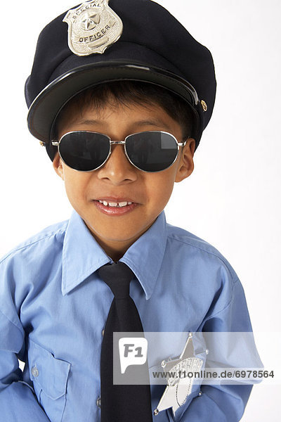 Boy Dressed as Police Officer