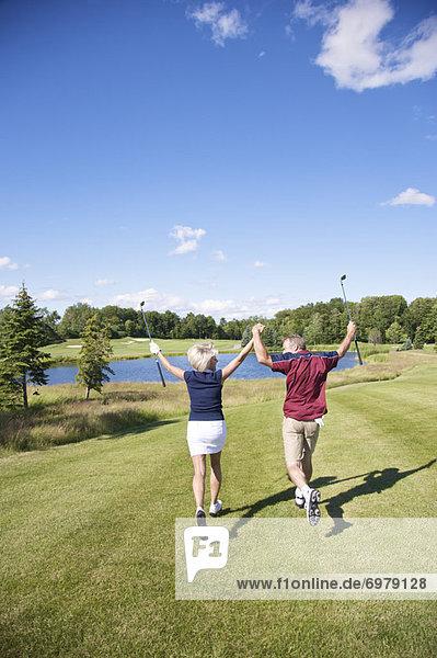 Golfers Cheering