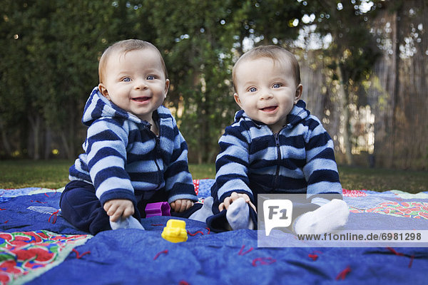 Twin Boys in Park