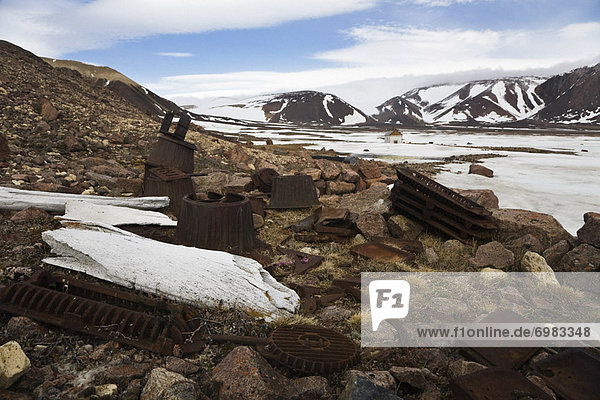 Artifacts and Whale Bones Outside an Abandoned RCMP Post  Craig Harbour  Nunavut  Canada