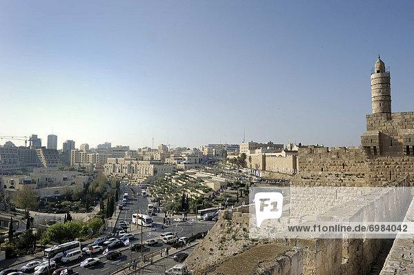 Jerusalem Hauptstadt Wand Ansicht Naher Osten Zitadelle Israel rechts Westen
