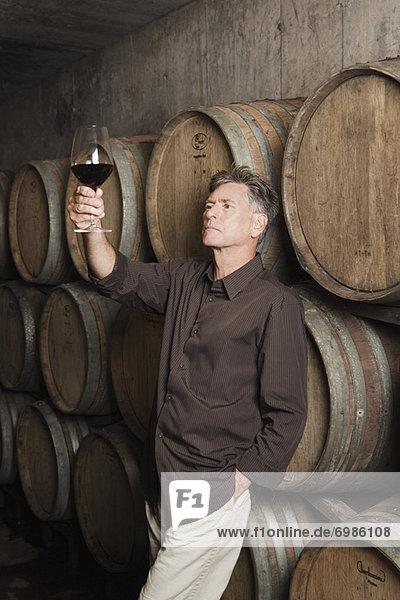 Winemaker Examining a Glass of Wine Winemaker Examining a Glass of Wine