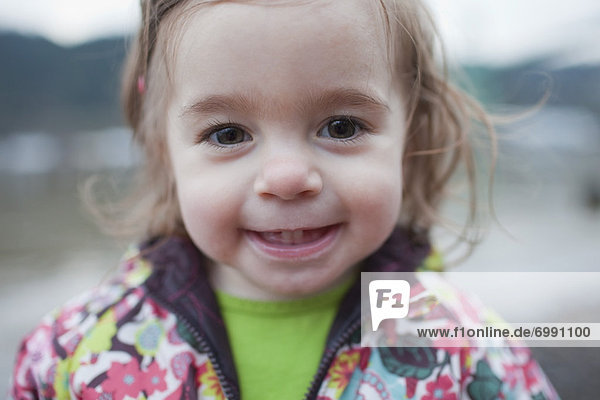 Close-up Portrait of Little Girl Outdoors  Oregon  USA