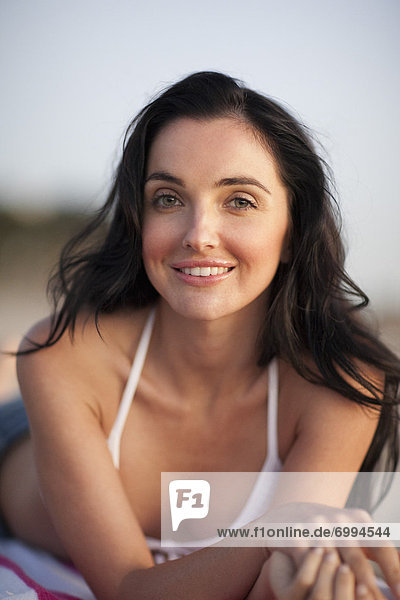 Close-up Portrait of Young Woman on Beach  Zuma Beach  California  USA