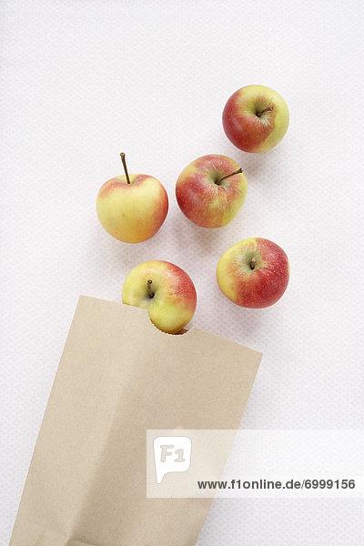 Papier  Tasche  Apfel  braun