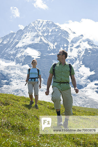 Couple Hiking  Bernese Oberland  Switzerland