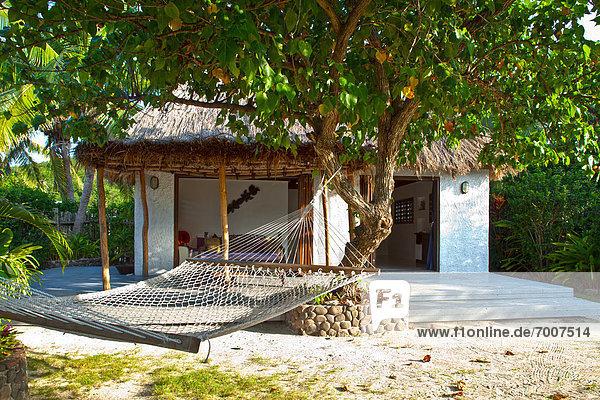 Tropisch Tropen subtropisch Hängematte Insel Urlaub Bungalow