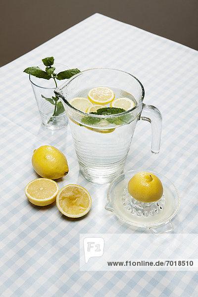 Zitronen  Kräuter und Krug Wasser