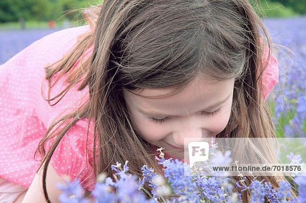 Nahaufnahme eines Mädchens  das Blumen riecht. Nahaufnahme eines Mädchens, das Blumen riecht.