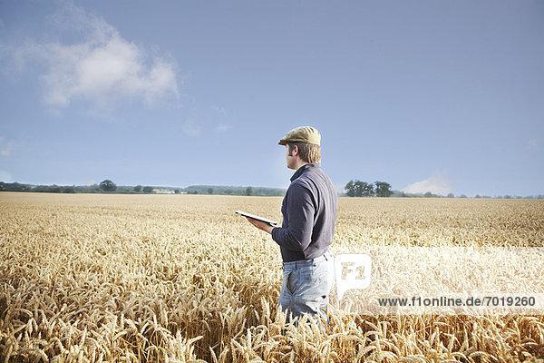 Landwirt mit Tablet-Computer im Feld