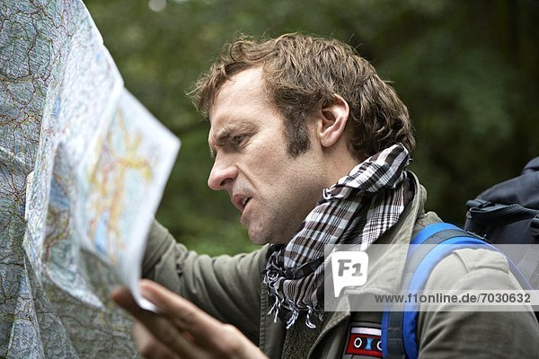 Male Hiker Reading Map in Forest