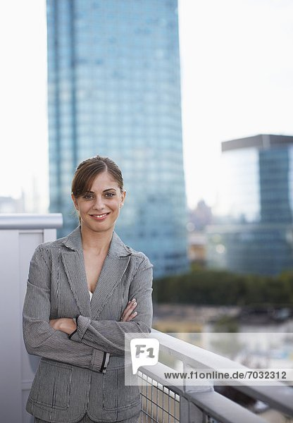 Portrait of Businesswoman on Balcony