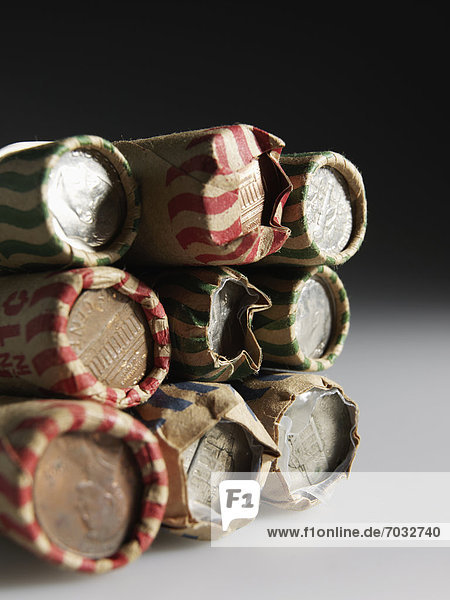 Stack of US Coin Rolls