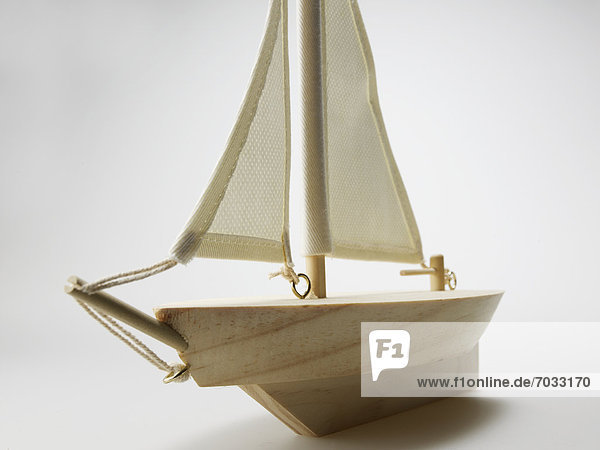 Close-Up of Wooden Model Ship