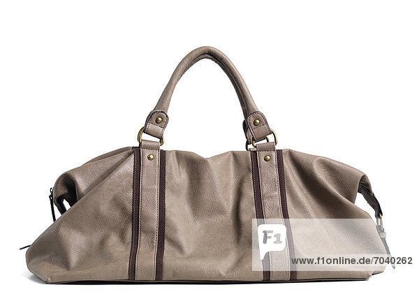Beige Damenhandtasche aus Leder