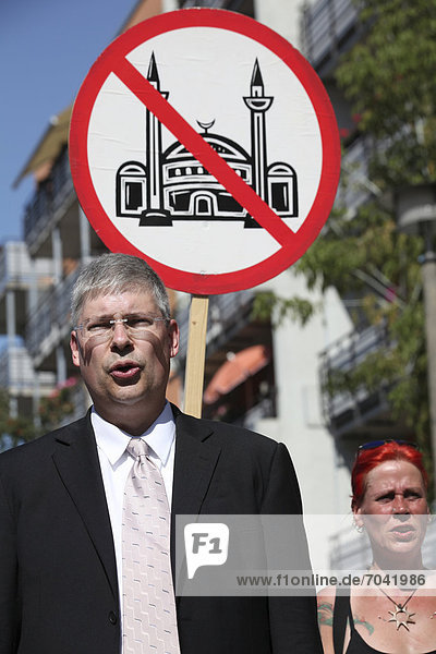 Manfred Rouhs  federal chairman of the Pro Germany Citizens' Movement  at an anti-Muslim demonstration of the Pro Germany Citizens' Movement  Friedrichshain  Berlin  Germany  Europe