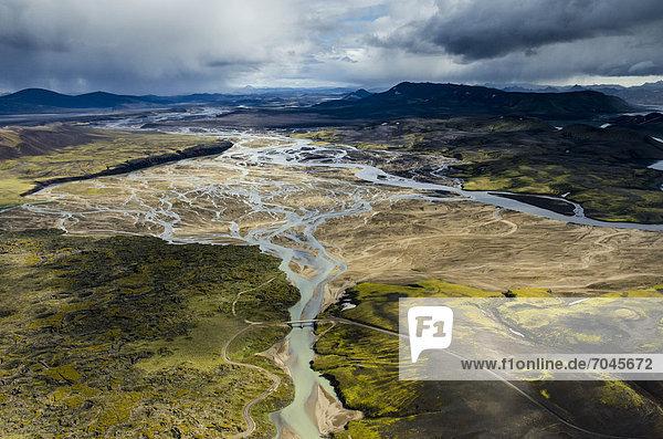 Aerial view  Tungna· braided river  rhyolite mountains  Landmannalaugar  Fjallabak conservation area  Icelandic Highlands  Iceland  Europe