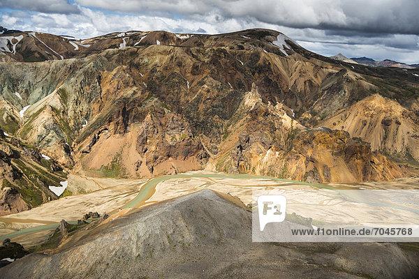Aerial view  JoekulgilkvÌsl braided river  rhyolite mountains  Landmannalaugar  Fjallabak conservation area  Icelandic Highlands  Iceland  Europe