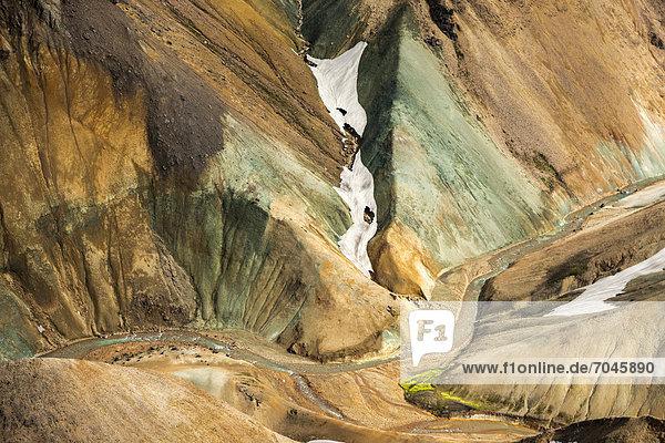 Aerial view  rhyolite mountains  small river  Landmannalaugar  Fjallabak conservation area  Icelandic Highlands  Iceland  Europe