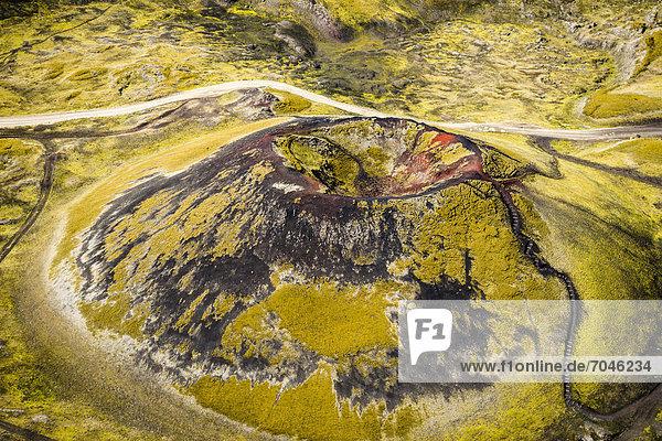 Aerial view  St_tur volcano crater  Nor_urn·mshraun lava field  Landmannalaugar  Fjallabak Conservation Area  Icelandic Highlands  Iceland  Europe