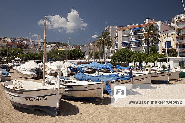 Boats on the beach of Sant Pol de Mar  Comarca Maresme  Costa del Maresme  Catalonia  Spain  Europe  PublicGround