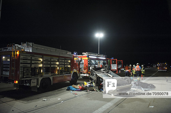 Fatal accident involving a microcar that illegally drove on the A8 motorway  it only had a maximum speed of 45 kilometers per hour  Denkendorf  Baden-Wuerttemberg  Germany  Europe