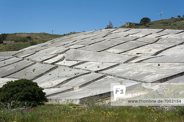The Crack  Cretto  by artist Alberto Burri  ruins from an earthquake doused with cement as a memorial  Gibellina Vecchia  Province of Trapani  Sicily  Italy  Europe