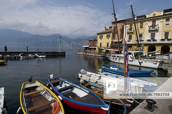 Mandatory Credit: Photo by Richard Sowersby / Rex Features (1910736x) Boats moored in Il porto d'inverno at Malcesine  Lake Garda  Italy Italy - Sep 2012