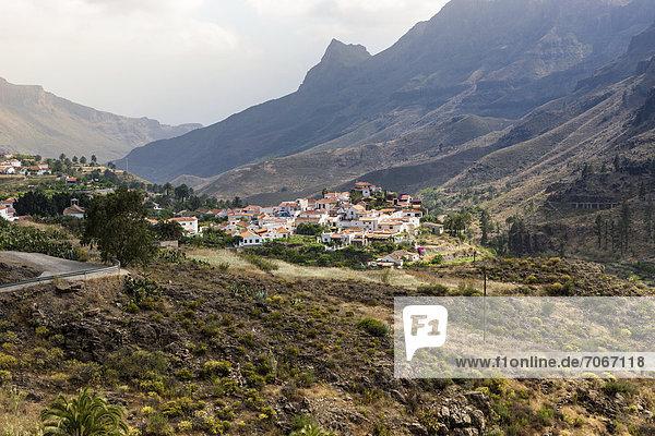 Europa Berg Dorf Kanaren Kanarische Inseln Gran Canaria Spanien