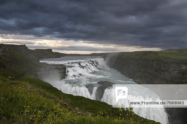 Cloud cover over the Gullfoss waterfall  South Iceland  Iceland  Europe