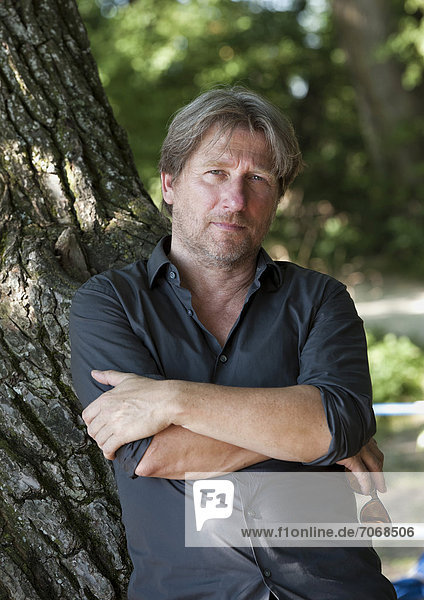 Actor Michael Fitz during a press conference in Uebersee am Chiemsee  Bavaria  Germany  Europe