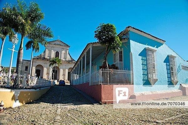 The Holy Trinity church and Main Square plaza Mayor  Trinidad city  Sancti Spiritus Province  Cuba.