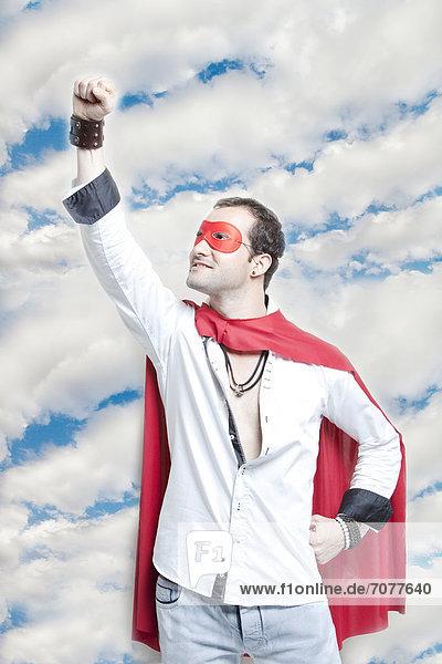 Mann  Wolke  heben  Himmel  Superheld  jung  Kostüm - Faschingskostüm