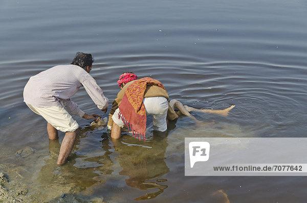 Eine Leiche wird in das Wasser des Yamuna als Teil der Einäscherungszeremonie gelegt  Vrindavan  Indien  Asien