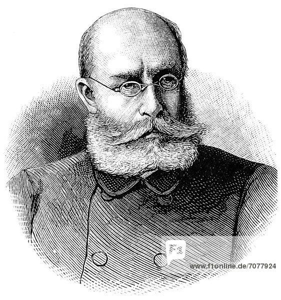 Historische Zeichnung  Portrait von Louis LÈon CÈsar Faidherbe  1818 - 1889  ein französischer General  Deutsch-Französischer Krieg von 1870 - 1871 zwischen dem Kaiserreich Frankreich und dem Königreich Preußen