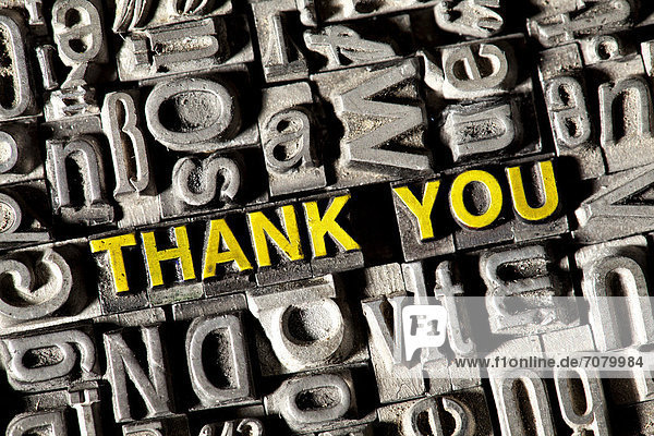 'Old lead letters forming the words ''THANK YOU'''