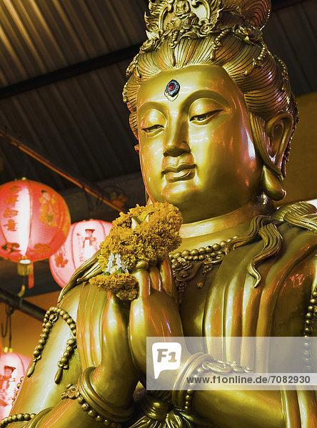 Bangkok  Hauptstadt  Fotografie  chinesisch  Statue  Laterne - Beleuchtungskörper  rot  Gold  Göttin  neu  Thailand  Jahr