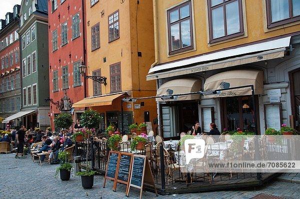 Stockholm Hauptstadt Europa Stadt Cafe Quadrat Quadrate quadratisch quadratisches quadratischer Terrasse Stortorget alt Schweden
