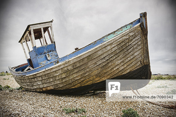 A fishing boat on the beach at Dungeness.