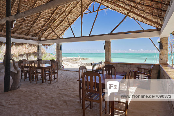 Restaurant of the Ankasy Resort & Spa  in south-western Madagascar. Beachfront view of the ocean.