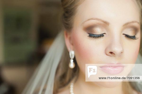 USA  Texas  Close up of young bride