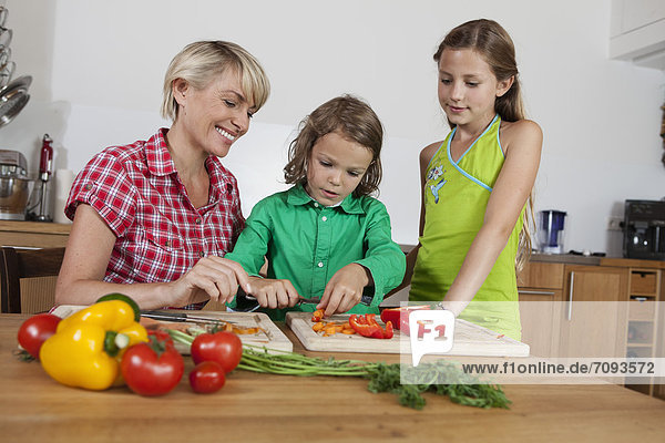 Germany  Bavaria  Nuremberg  Mother and children cutting vegetables