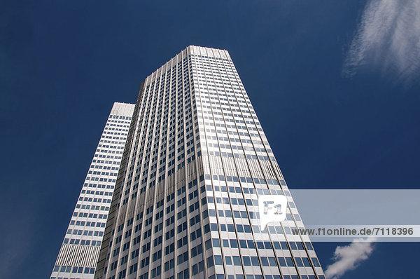 EZB Tower  Europäische Zentralbank  Frankfurt am Main  Hessen  Deutschland  Europa  ÖffentlicherGrund