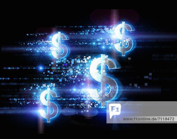 Hell illuminierte Dollarzeichen und Punkte auf schwarzem Hintergrund