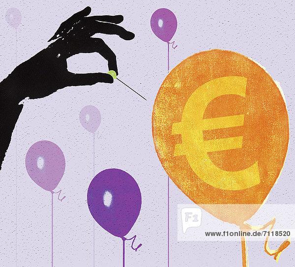 Hand mit einer Stecknadel die einen Ballon mit Eurozeichen zum Platzen bringen wird