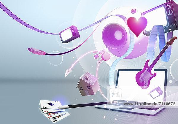 Multimedia-Unterhaltungsgeräte die aus einem Laptop-Bildschirm auftauchen