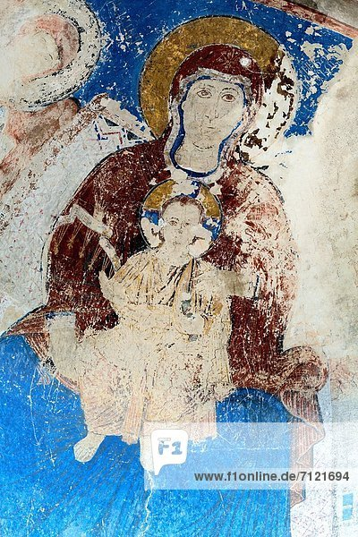 Mural painting 13th century  monastery church  Kintsvisi  Shida Kartli  Georgia