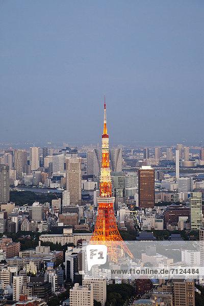 Skyline  Skylines  Urlaub  Reise  Großstadt  Tokyo  Hauptstadt  Turm  Ansicht  Roppongi  Luftbild  Fernsehantenne  Asien  Japan  Tourismus